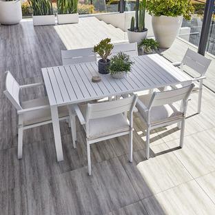 6 Seater Kos Aluminium Outdoor Dining Table Set