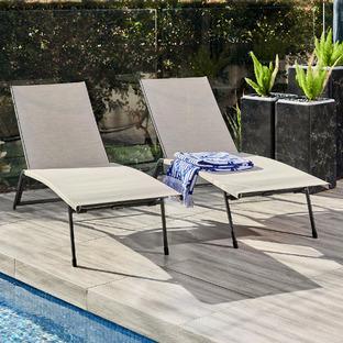 Deacon Steel & Textilene Outdoor Sun Lounges (Set of 2)