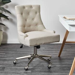 Beige Windsor Scoop Back Linen Office Chair