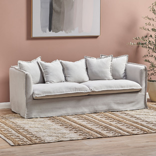 Natural Montauk 3 Seater Slipcover Sofa