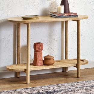 Natural Anya Mango Wood & Rattan Console Table