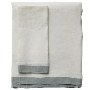 White & Sea Mist Montalto Linen-Blend Tablecloth