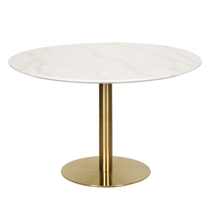 Large Gold Base Parkinson Round Dining Table