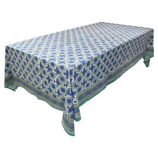Blue & Green Block Print Cotton Tablecloth