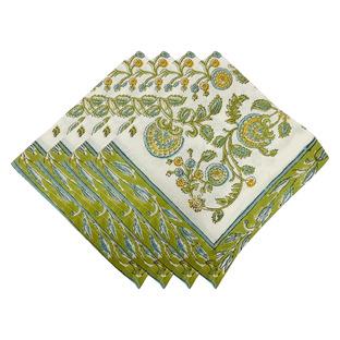 Green & White Cotton Napkins (Set of 4)