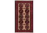 Network Rugs Red & Beige Wool Balouchi Rug