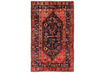 Network Rugs Rose & Navy Wool Persian Hamadan Rug