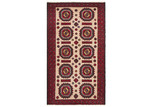 Network Rugs Red & Cream Wool Balouchi Rug