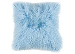 NSW Leather Light Blue Mongolian Sheepskin Cushion