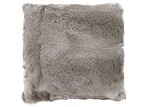 NSW Leather Grey Rabbit Fur Cushion