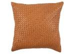 NSW Leather Tan Rustic Bottega Weave Leather Cushion