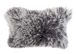 NSW Leather Charcoal Rectangular Mongolian Sheepskin Cushion