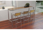 R&V Living Plantation Teak & Steel Bar Table