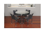 R&V Living Glass & Steel Round Dining Table
