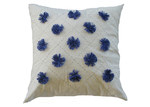 Bungalow Living Blue Pom Pom Cushion