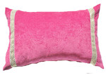 Bungalow Living Pink Greek Key Velvet Lumber Cushion