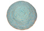 Ground Work Rugs Blue Plaited Hand Made Round Jute Rug