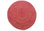Ground Work Rugs Red Plaited Hand Made Round Jute Rug