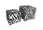 The Decor Store 2 Piece Monique Zebra Print Velvet Ottoman Set