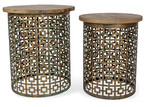 Lifestyle Traders Set of 2 Gold & Natural Round Side Tables