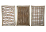 Casa Uno Rectangular Tanoak & Rattan Lattice Triptych Wall Art (Set of 3)