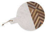 Lifestyle Traders Chevron Detailed Round Wood And Marble Cheese Board
