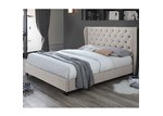 VIC Furniture Oat White Diamond Queen Bed & Mattress