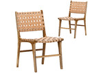 Continental Designs Cassie Woven Leather & Teak Dining Chairs (Set of 2)