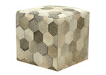 Boyle Hexagonal Patchwork Cow Hide Ottoman