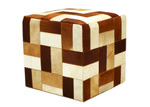 Boyle Brown Geometric Patchwork Cow Hide Ottoman