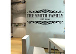 HM Wall Decal Personalised Family Name and Floral Border Wall Sticker