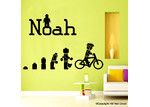 HM Wall Decal Evolution Of The Cycling Lego Man Personalised Wall Sticker