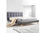 Essential Home Supply Grey Ramone Button Tufted Bed Frame