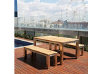 Allura Republic Uluwatu 3 Piece Teak Dining Set and Benches