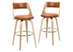 Rowland & Archibald Zurich Modern Faux Leather & Wood Barstools (Set of 2)