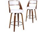 Rowland & Archibald White Zurich Modern Barstools (Set of 2)