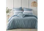 Bianca Soft Blue Wellington Linen-Blend Quilt Cover Set