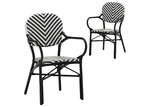 Temple & Webster Black Paris PE Rattan Cafe Arm Chair (Set of 2)