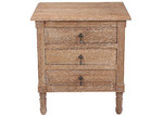 Naturally Provinicial French Country Three Drawer Weathered Bedside Table