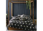 Linen House Charcoal Geometric Everett Quilt Cover Set