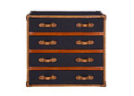Huntington Lane Vintage Leather & Black Fabric 4 Drawer Chest