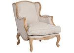 Huntington Lane French Linen Oak Bergere Louis XV Wing Chair