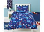Dreamaker Blue Robots Printed Quilt Cover Set