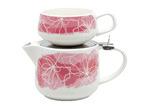Salt & Pepper 2 Piece Pink Lilia T4Me Teapot & Mug Set