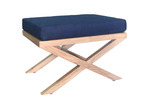 S & G Furniture Chelsea Linen & Oak Footstool