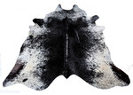 All Natural Hides and Sheepskins Dark Black Speckled Natural Cowhide Rug