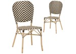 Temple & Webster Taupe & White Paris Faux Wicker Cafe Dining Chairs (Set of 2)
