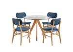 Temple & Webster 4 Seater Blue Soho Beech Wood Dining Table & Chairs Set