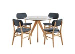 Temple & Webster 4 Seater Charcoal Soho Beech Wood Dining Table & Chairs Set