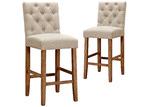 Temple & Webster 65cm Windsor Provincial Linen Barstools (Set of 2)
